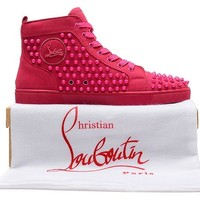 Red bottoms hot pink studs