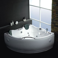 EAGO AM125HO  5' Double Corner Acrylic White Whirlpool Bathtub w Inline Heater