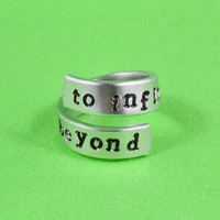 to infinity and beyond - Hand Stamped Twist Ring, Pure Aluminum, Adjustable,  Skinny Band Ring