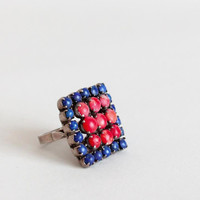 Vintage 1970s Square Stone Statement Ring