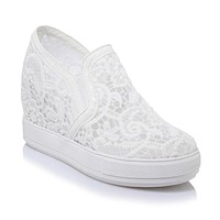 Woman's Leisure Thick-soled Loafers Platform Wedge Shoes
