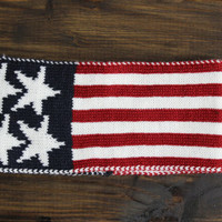 USA Knitted Headband, American Flag Turban, Wide Knitted Turban Headband, Womens Knit Head Wrap, Knitted Headbands with stars and Stripes