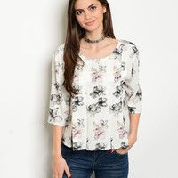Women Fashion Ivory Floral Pleated Swing Top Blouse Shirt Casual Dressy Style