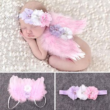 Baby born Photography Props Accessories Crochet Knit Costume Beaded Cap Headband Baby Photo Infant Prop Outfits