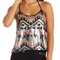 Aztec Sequin Swing Tank Top by Charlotte Russe - Black Combo