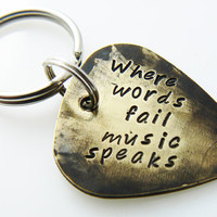 """Hand Stamped & Antiqued Copper Guitar Pick Keychain - """"Where words fail music speaks"""" key chain with name / date"""