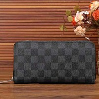 LV Women Zipper Leather Wallet Purse Black I-LLBPFSH