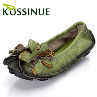 New spring women flats genuine leather shoes women casual loafers flower flat heel shoes soft outsole handmade flats women