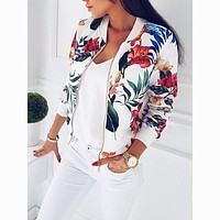liva girl 2018 Women Coat Fashion Ladies Retro Floral Zipper Up Bomber Jacket Casual Coat Autumn Outwear Women Clothes