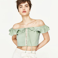 FRILLED CROP TOP - NEW IN-WOMAN   ZARA United States