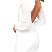 White See-Through Sleeves Open Back Dress