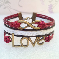 Retro Love Bracelet,Infinity Bracelet.Claret Wax Cords and Brown with Light Pink braid bracelet.