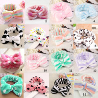 Womens Elastic Hair Coral Velvet Big Bow Polka Dot Stripe Headbands Bath Wash Face Makeup Band Beauty Shower Hairband Head-Ware
