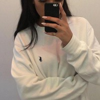 ONETOW Polo Ralph Lauren Casual Embroidery Top Sweater Pullover Sweatshirt