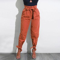 Belted High Waist Casual Trousers Pants