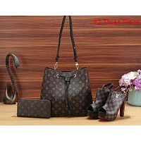 LV Popular Women Shopping Leather Tote Handbag Shoulder Bag Purse Wallet Single Shoe Set Three-Piece #2 I-a-BBPFCJ