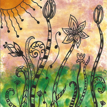 Alcohol Ink Painting Garden with Zentangle Inspired Patterns SFA