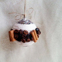 Fragrant christmas tree ornament coffee beans, cinnamon cotton linen cord christmas decoration natural rustic decor