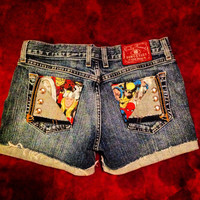 Comic Book Cutoff Upcycled Denim Shorts Spider Man Marvel Comics Distressed