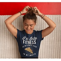 Women's Funny Pizza T Shirt Pizza Shirts Into Fitness Pizza In Mouth Workout Tee Foodie TShirt Pizza Shirts