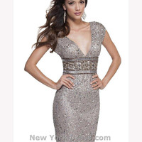 2015 Sexy Shiny Brand New V-Neck Crystal Beaded Sheath Cocktail Dress Formal Cap Sleeve Short Mini Party Dress Gown