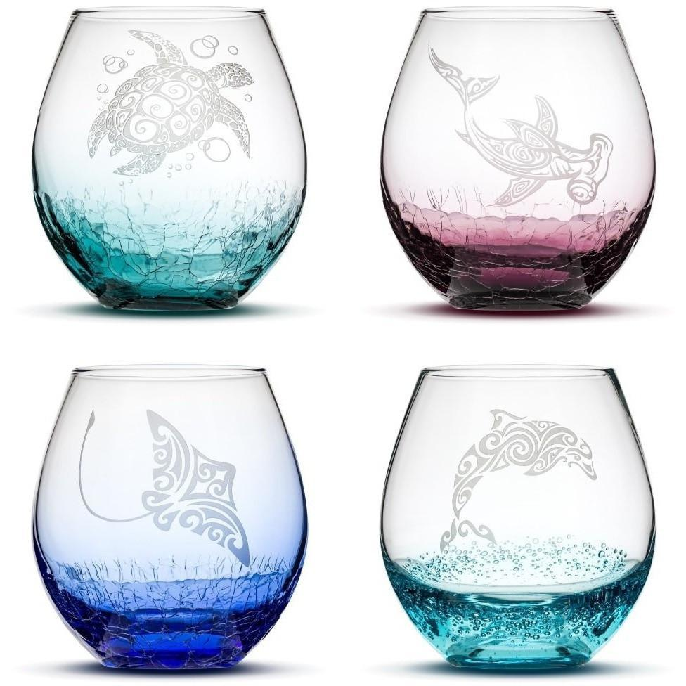 Image of Choose Your Crackle Wine Glass with Tribal Sea Animal Designs