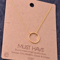 Dainty Open Circle Charm Necklace - Gold, Silver or Rose Gold