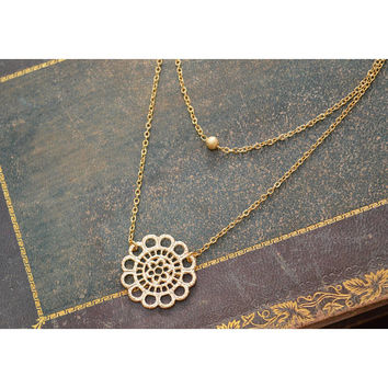 Gold double strand lace necklace