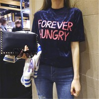 2017 Summer New Fashion Women Summer Letter Print T Shirt Casual Woman Short Sleeve Tops Turtleneck Plus Size tee 72298