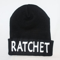 RATCHET Embroidered Cuffed Knit Beanie, RATCHET Embroidered Beanie