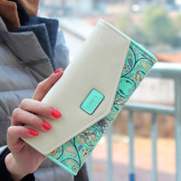 Hot Selling Korean Style Women Wallet Fashion Floral Hit Color Lady Clutch Long Design Hasp Card Holders Female Change Purses