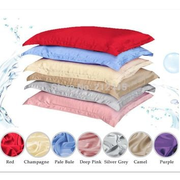100% pure silk pillowcase oxford pillow case pillow sham free shipping standard queen king size dyed many colors