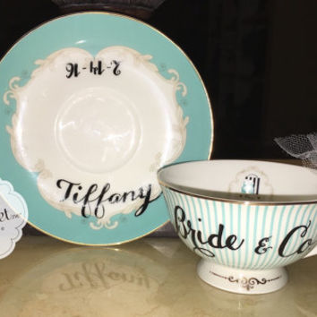 Bridesmaid gifts, bride, tea cup and saucer set, bridal shower, tea party, bride to be, coffee cup, wedding party, personalized mug, cup