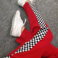 Checkered Stripe Drawstring Pants