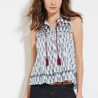 Abstract Floral Gauze Top | Forever 21 - 2000096222