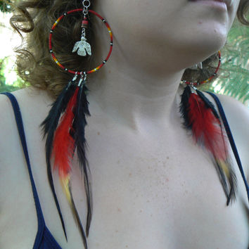 phoenix dreamcatcher earrings Thunderbird coachella festival earrings Native American inspired  tribal boho belly dancer and hipster style