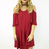 Wine And Dine Cold Shoulder Swing Dress