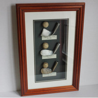 Golf Club Golf Ball 3D History Art Exhibit Display Wood Glass Shadow Box Rut Mashie Niblick, Square Toe Iron, Balls from 1700-1910 Vintage
