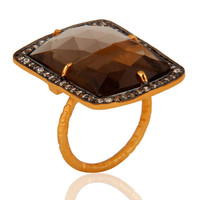 Gold Vermeil 925 Sterling Silver Faceted Gemstone Smokey Quartz Prong Set Ring