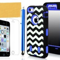 Tradekmk(TM) Unique Waving Paint Hard Plastic Silicone Armored Hybrid Case Cover Protector Fit For iPhone 5C(Black with Blue), with Stylus Pen,Screen Protector and Cleaning Cloth
