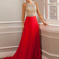 Custom design dresses high neck sheer beaded crystals sparkle back see through chiffon jersey special occasion red prom dress