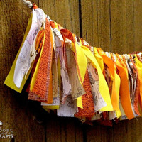 Thanksgiving rag garland, rustic cornucopia, fall mantle decoration, autumn swag, fall photo prop, harvest orange yellow, rustic fall decor
