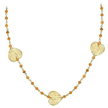 """CHG-201-CN-18"""" 18K Gold Overlay Necklace With Carnelian"""