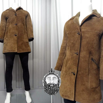 Vintage 70s Genuine Sheepskin Coat Mens Large Mens Outerwear Lambskin Shearling Jacket Dark Brown Suede 1970s Clothing Winter Leather Piping