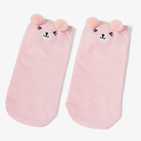 Pink Teddy Bear Ankle Socks
