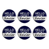Zavier Hello My Name Is Plastic Resin Button Set of 6