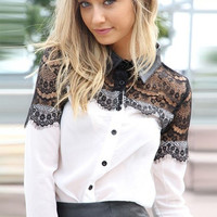 Lapel Long Sleeve Lace Chiffon Patchwork Top