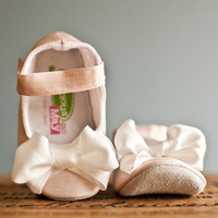 Gracious May Pink & White Silk Bow Mary Jane   zulily
