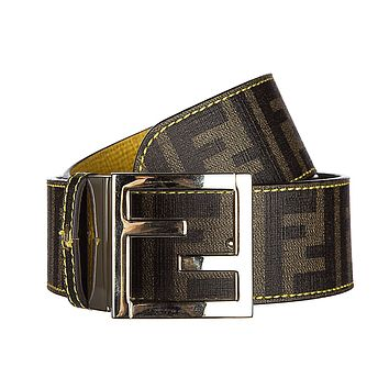Fendi women's adjustable length reversible belt zucca yellow
