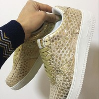 Nike Air Force 1 718152-701 Golden For Women Men Running Sport Casual Shoes Sneakers